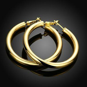 18K Gold Filled 5mm thick Round 50MM Hoop Earrings